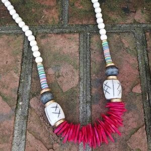 SouthernIsle Hot Pink Coconut Chip Necklace